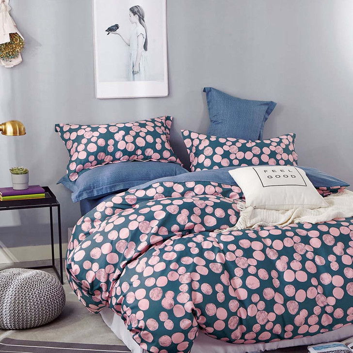 Ardor Ginnie Teal Double Bed Quilt Cover Set   My Linen