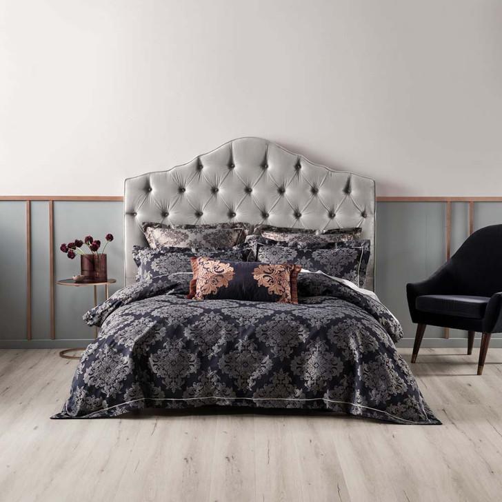 Linen House Yvette Navy Queen Bed Quilt Cover Set   My Linen