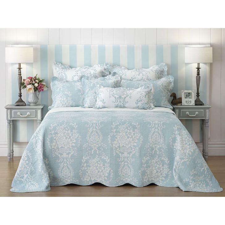 Florence Blue Bedspread Set Queen Bed   My Linen