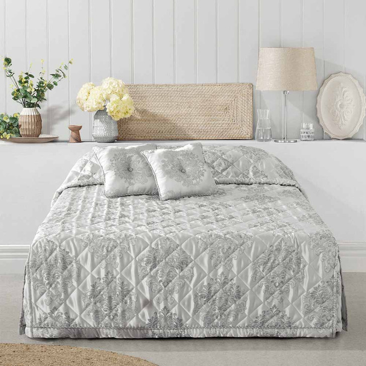 Bianca Tanaquil Silver Queen Bed Bedspread   My Linen