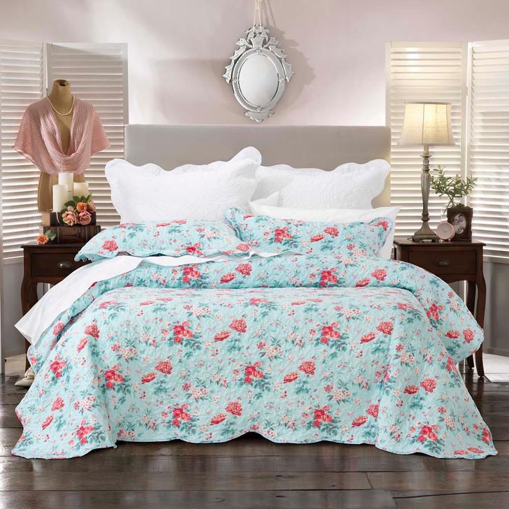 Bianca Serenity Blue Double Bed Bedspread Set   My Linen