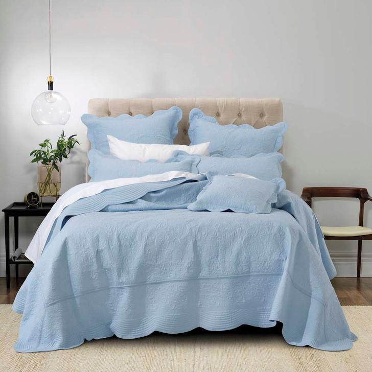 Bianca Hampton Blue Queen Bed Bedspread Set | My Linen