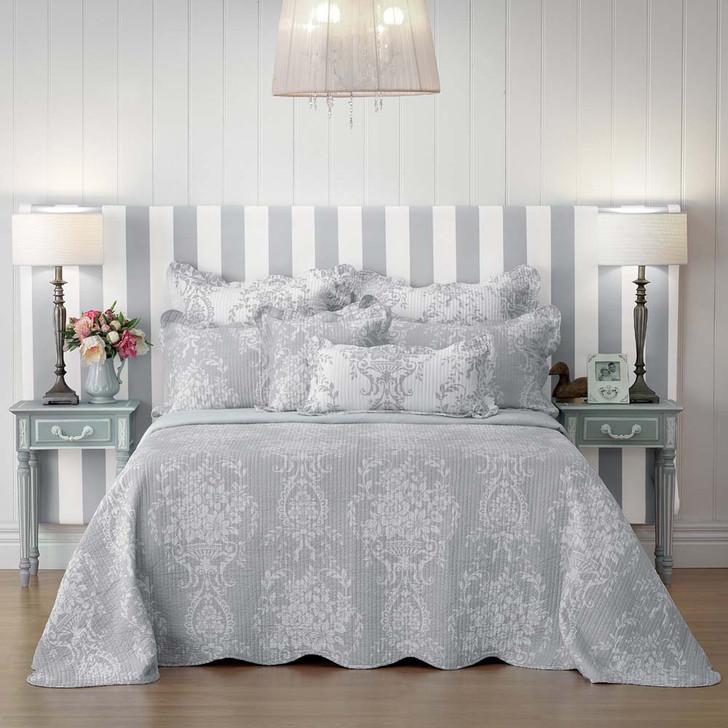Bianca Florence Grey Queen Bed Bedspread Set   My Linen