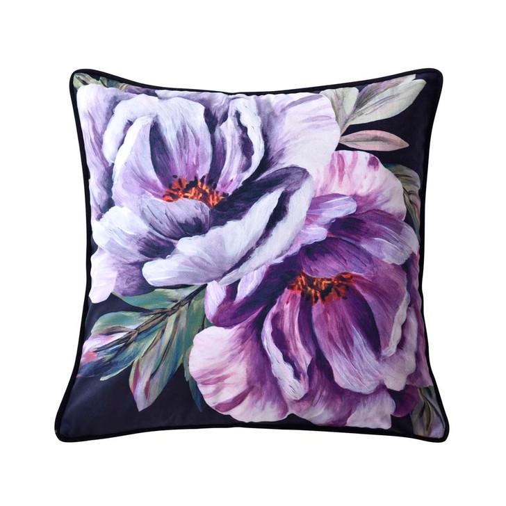 Bianca Peony Black Square Filled Cushion | My Linen