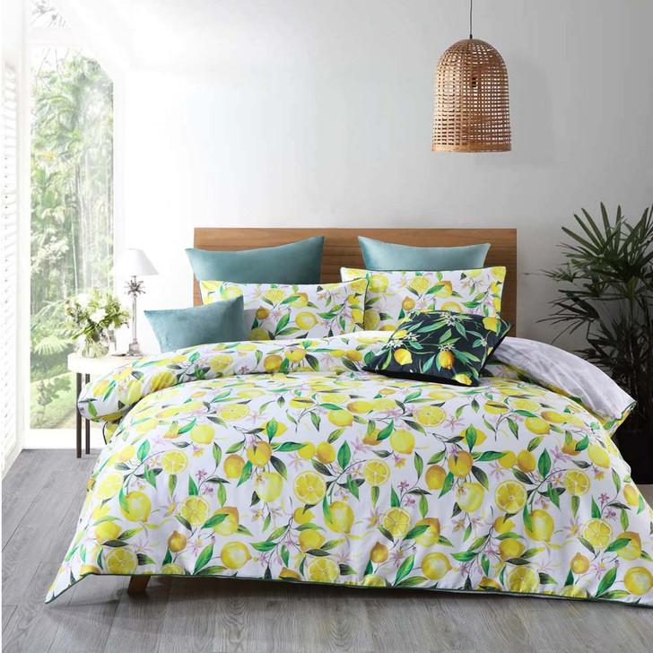 Bianca Lemons White King Bed Quilt Cover Set   My Linen