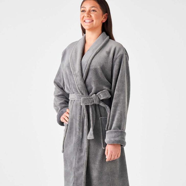 Linen House Plush Bathrobe Charcoal One Size Fits Most