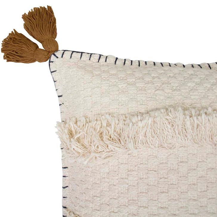 Bambury Jubuk Spice Square Filled Cushion Closeup | My Linen