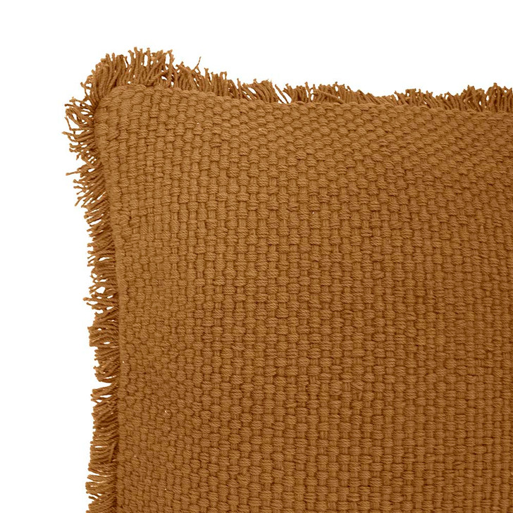 Bambury Amery Spice Square Filled Cushion Closeup | My Linen
