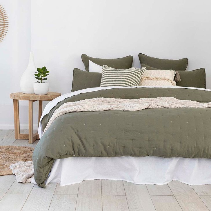 Bambury Willare Moss Double Bed Quilt Cover Set   My Linen