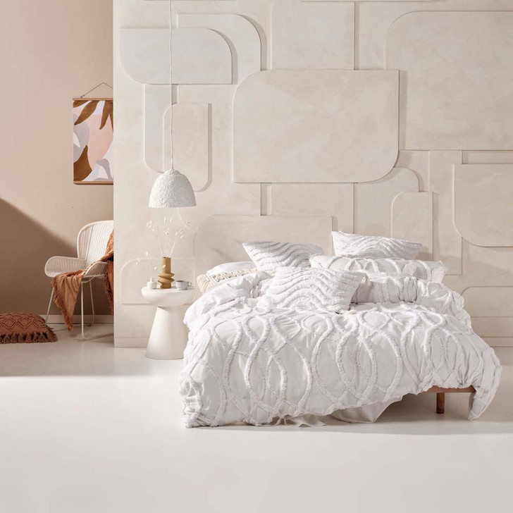 Linen House Amadora White King Bed Quilt Cover Set   My Linen