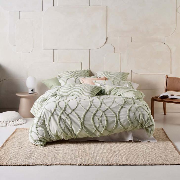 Linen House Amadora Wasabi Super King Quilt Cover Set   My Linen