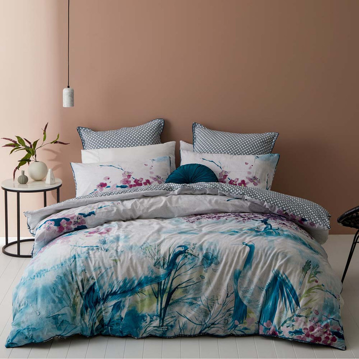 Logan and Mason Augusta Blue Queen Bed Quilt Cover Set | My Linen