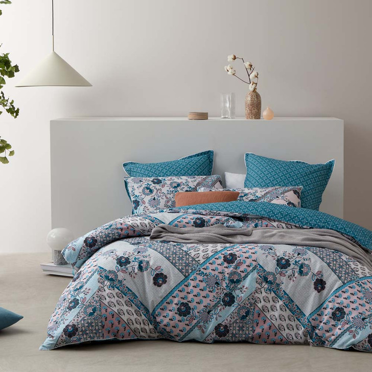 Logan and Mason Zali Teal King Bed Quilt Cover Set | My Linen