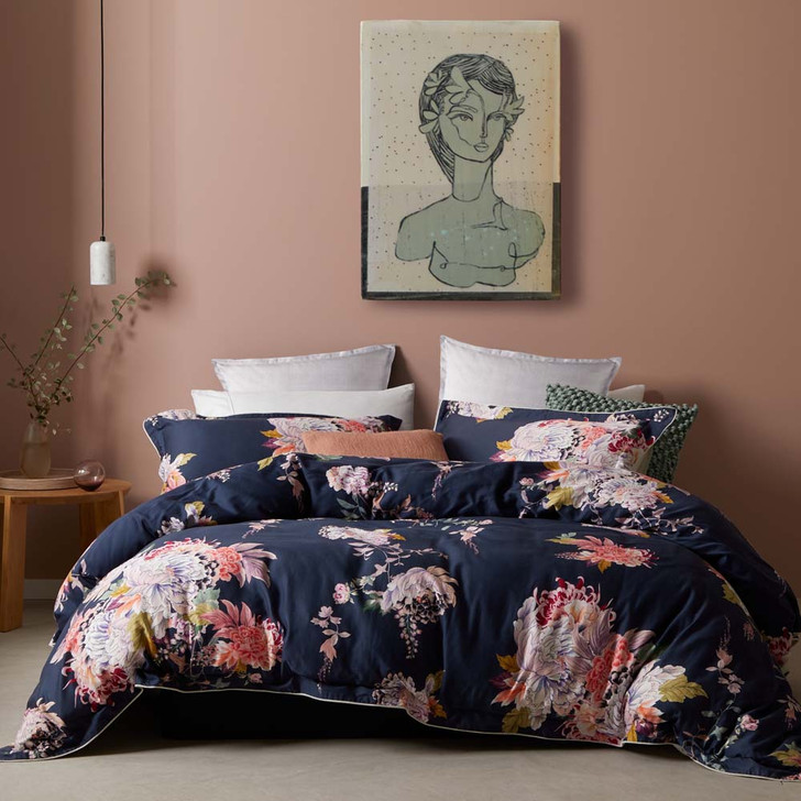 Logan and Mason Hope Navy Queen Bed Quilt Cover Set | My Linen
