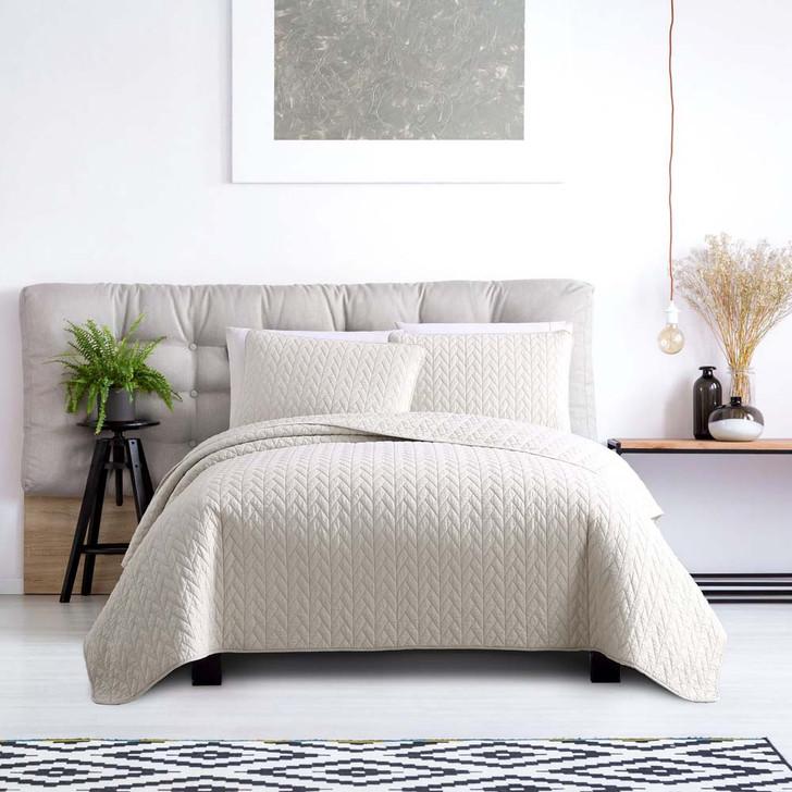 Ardor Boudoir Maya Oatmeal Queen / King Bed Coverlet Set | My Linen