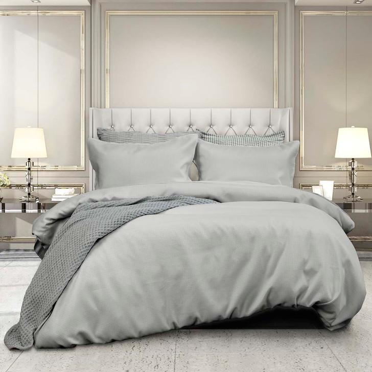 Ardor Boudoir Waffle Silver Queen Bed Quilt Cover Set | My Linen