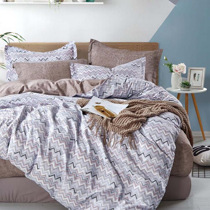 Ardor Ezekiel Grey Queen Bed Quilt Cover Set   My Linen