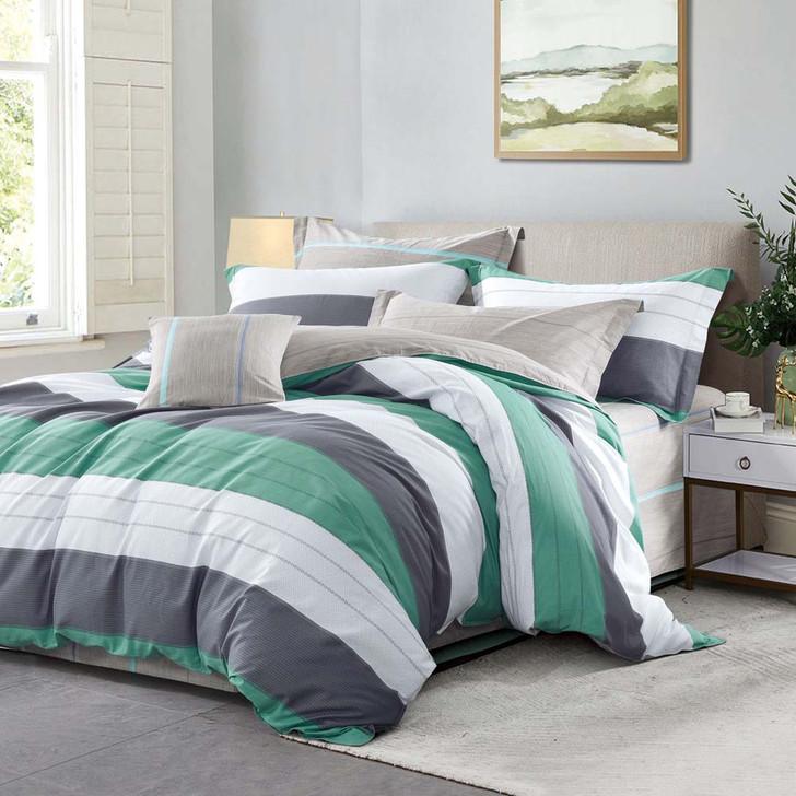 Ardor Ansen Green Queen Bed Quilt Cover Set   My Linen