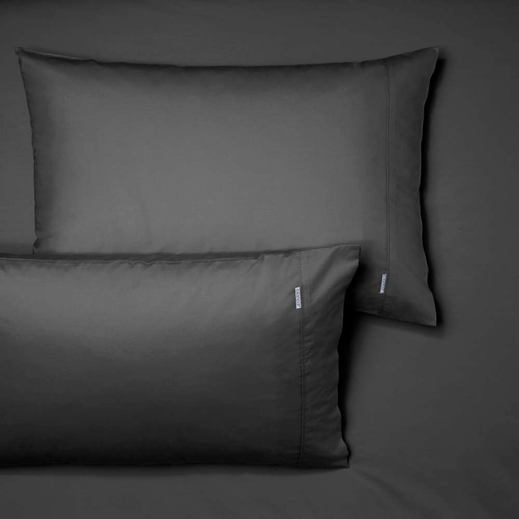 Bianca Heston 100% Cotton Percale Charcoal Super King 50cm Fitted Sheet and Pillowcase Combo | My Linen