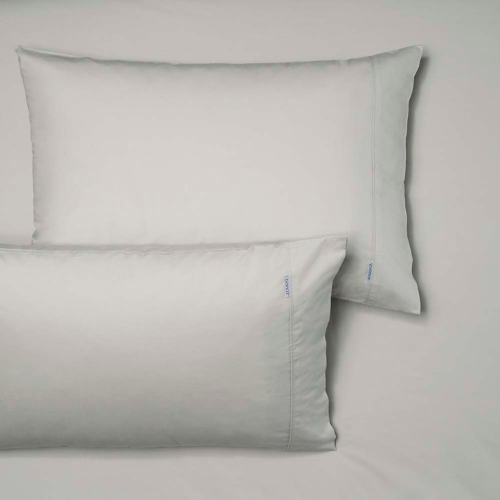 Bianca Heston 100% Cotton Percale Silver Double Bed Fitted Sheet and Pillowcase Combo | My Linen