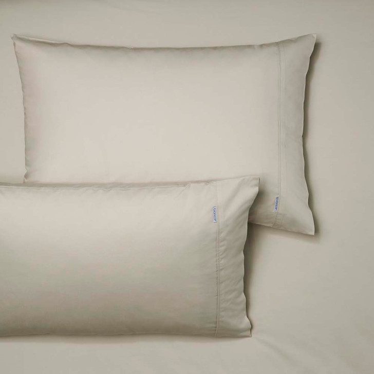 Bianca Heston 100% Cotton Percale Stone King Bed Fitted Sheet and Pillowcase Combo | My Linen