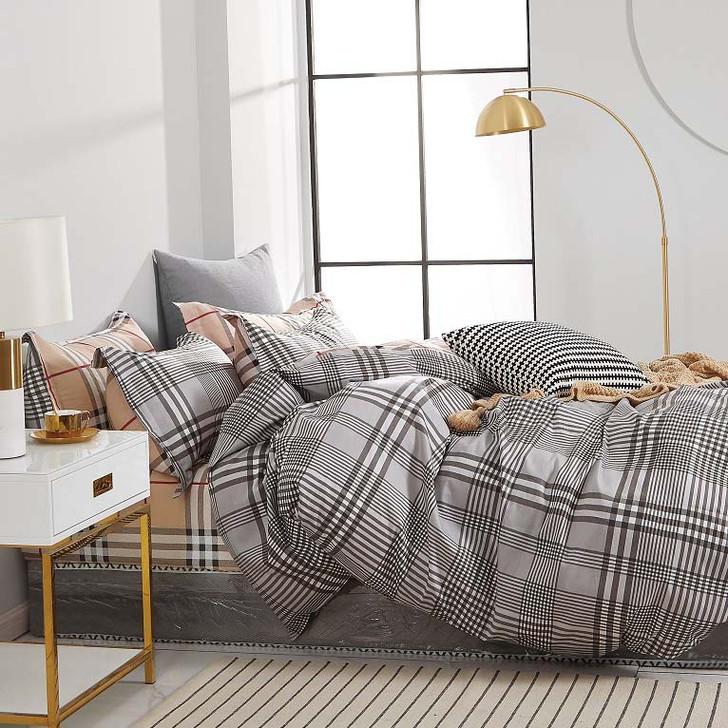 Ardor Brax Grey King Bed Quilt Cover Set   My Linen
