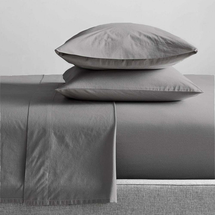 Renee Taylor Organic Steel Grey Sheet Set Single Bed   My Linen