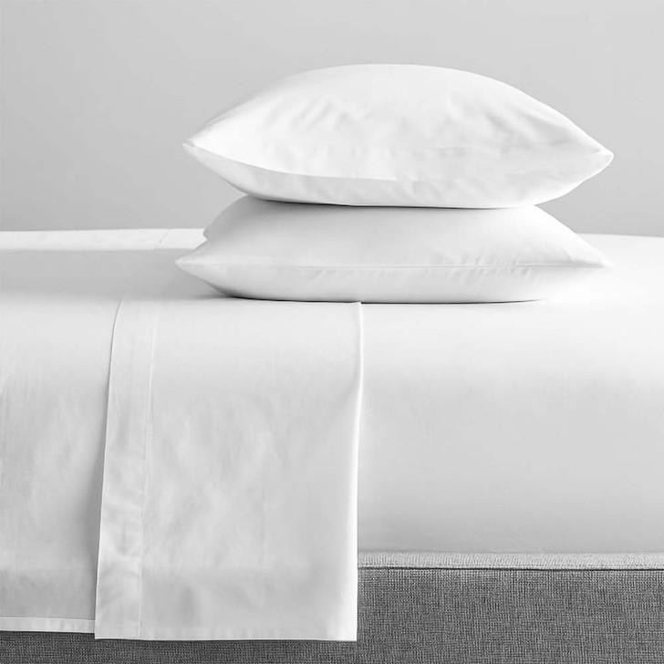 Renee Taylor Organic White Sheet Set Single Bed   My Linen