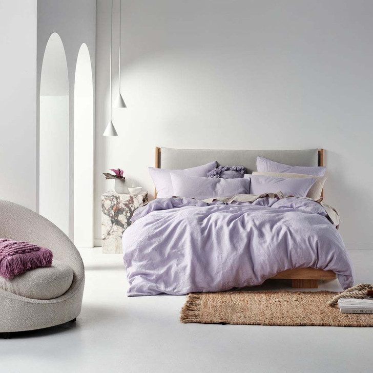 Linen House Nimes Lilac Double Bed Quilt Cover Set | My Linen