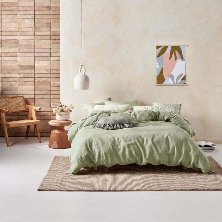 Linen House Nimes Wasabi Queen Bed Quilt Cover Set | My Linen