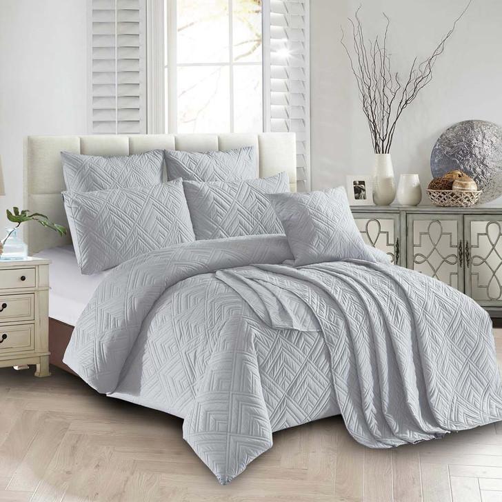 Concierge Firenze Silver Single Bed Quilt Cover Set | My Linen