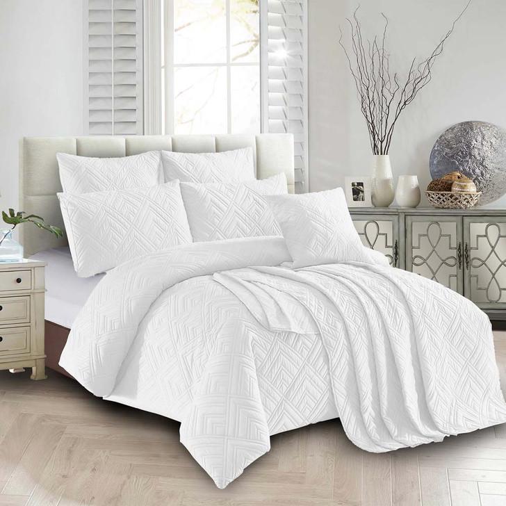 Concierge Firenze White Double Bed Quilt Cover Set   My Linen
