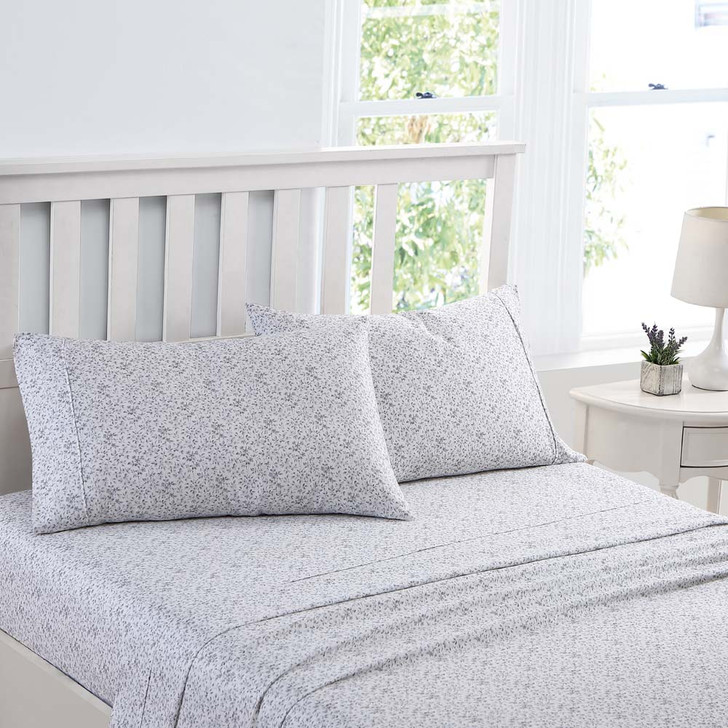 Laura Ashley Tierney Blue / Pearl Sheet Set King Bed | My Linen