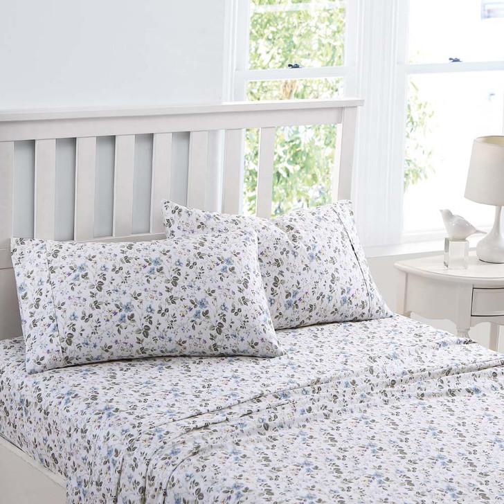 Laura Ashley Spring Bloom Wildflower Blue Sheet Set Queen Bed   My Linen