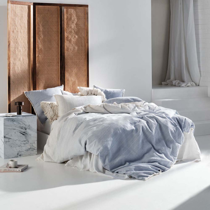 Linen House Lagos Blue Double Bed Quilt Cover Set   My Linen