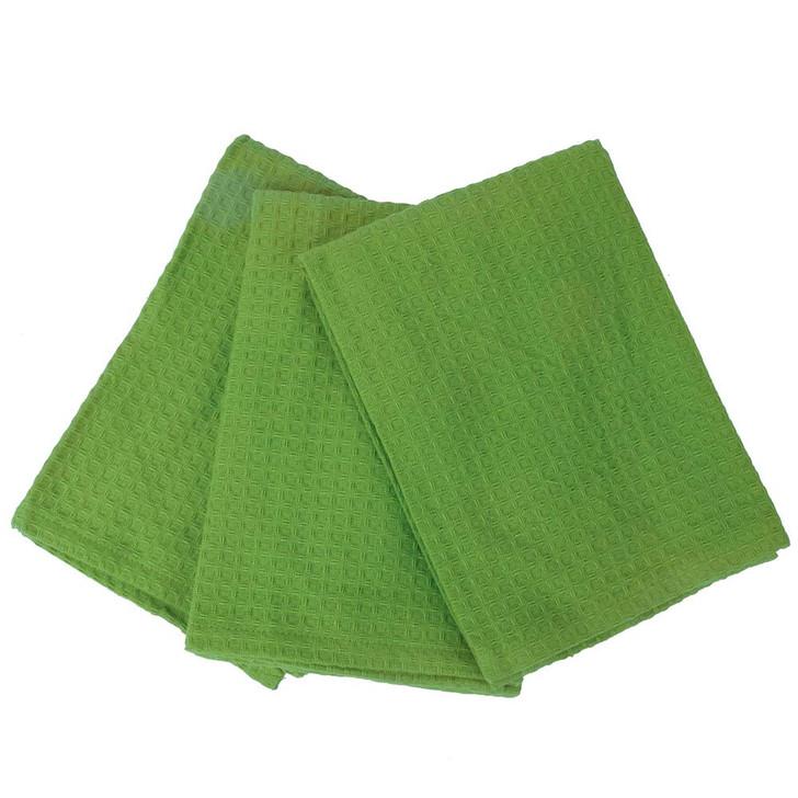 Rans London Waffle Tea Towel Lime Green 3 Pack   My Linen