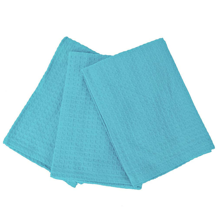 Rans London Waffle Tea Towel Island Paradise Blue 3 Pack   My Linen