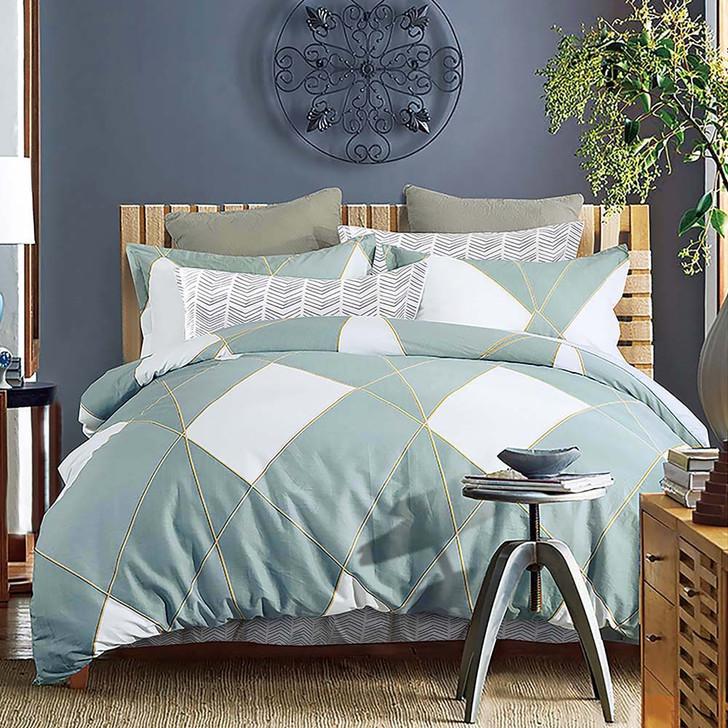 Ardor Turin Aqua Single Bed Quilt Cover Set    My Linen