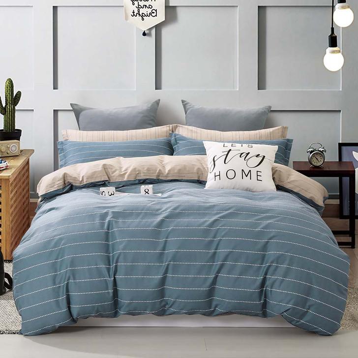 Ardor James Blue Single Bed Quilt Cover Set | My Linen