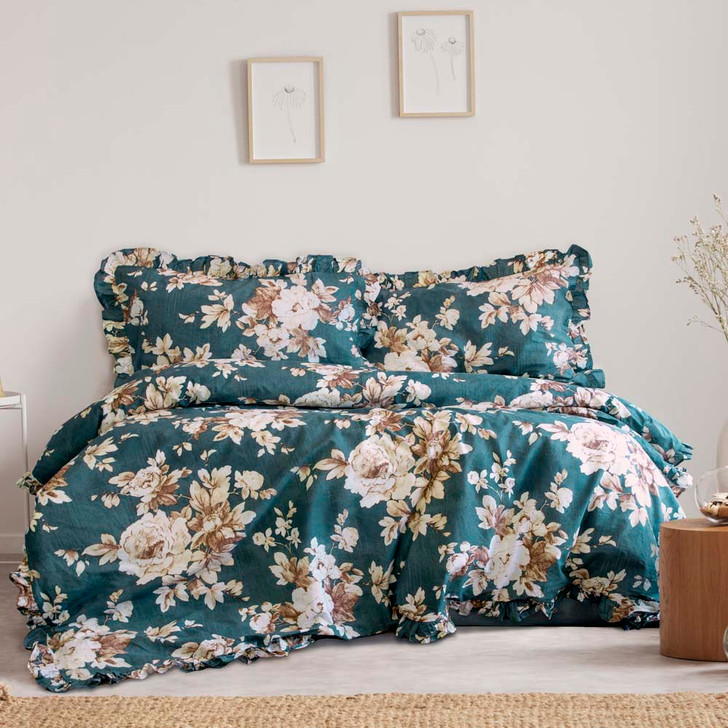 Ardor Ayla Teal Double Bed Quilt Cover Set | My Linen