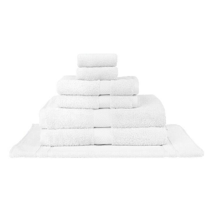 Mildtouch 100% Combed Cotton 7pc Bath Towel Set White   My Linen