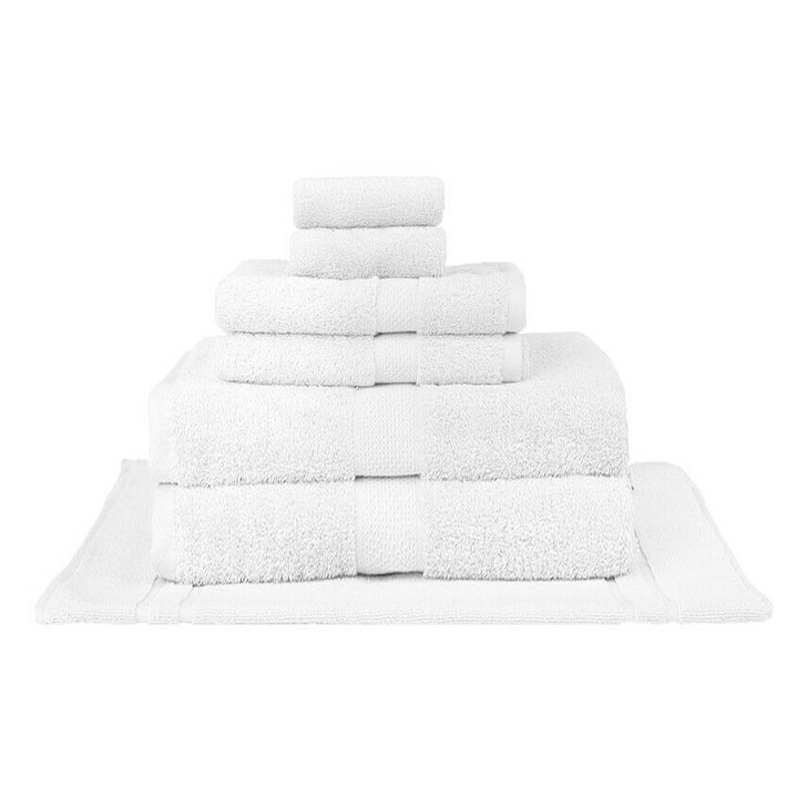 Mildtouch 100% Combed Cotton 7pc Bath Sheet Set White | My Linen
