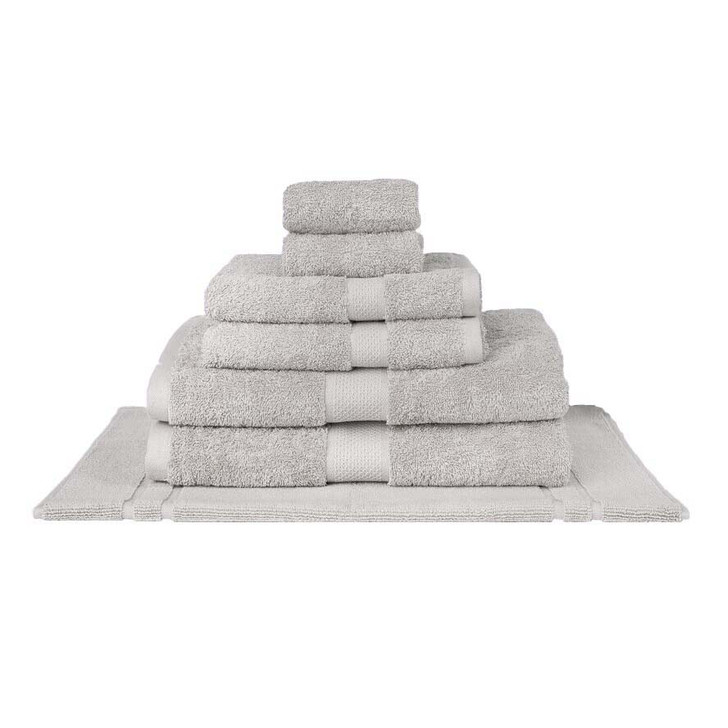 Mildtouch 100% Combed Cotton 7pc Bath Towel Set Silver | My Linen