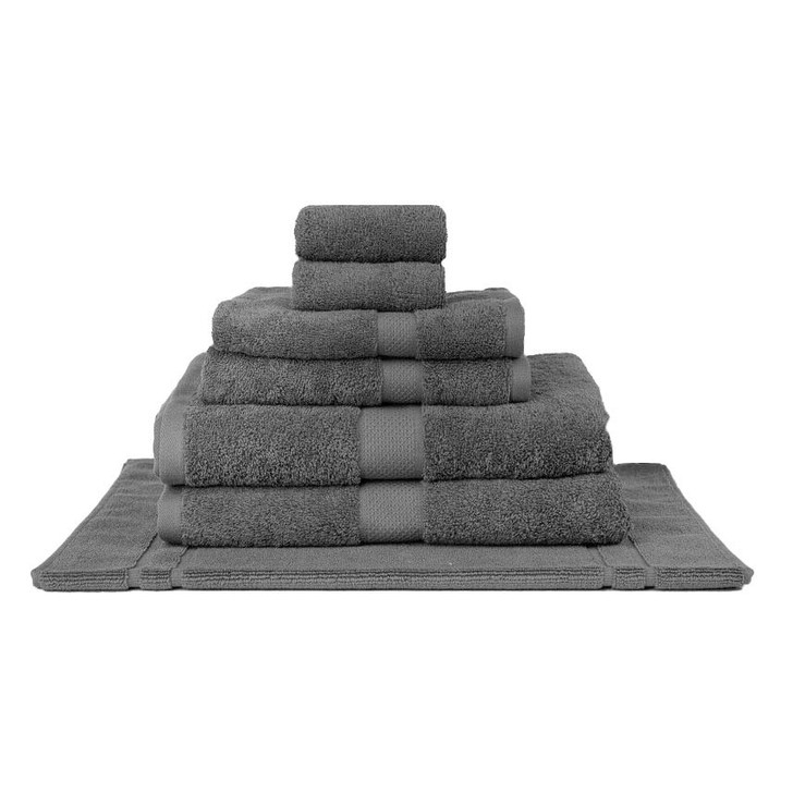 Mildtouch 100% Combed Cotton 7pc Bath Towel Set Charcoal | My Linen