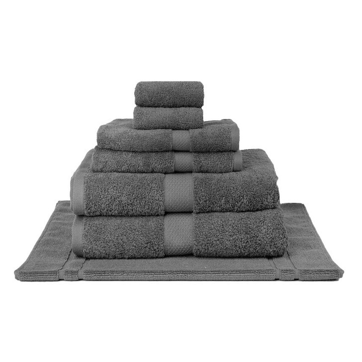 Mildtouch 100% Combed Cotton 7pc Bath Sheet Set Charcoal | My Linen