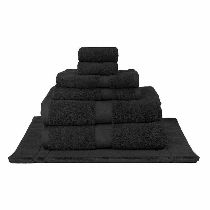 Mildtouch 100% Combed Cotton 7pc Bath Sheet Set Black | My Linen