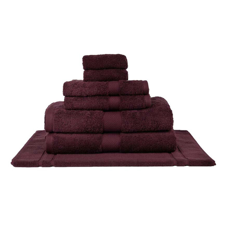 Mildtouch 100% Combed Cotton 7pc Bath Towel Set Burgundy | My Linen