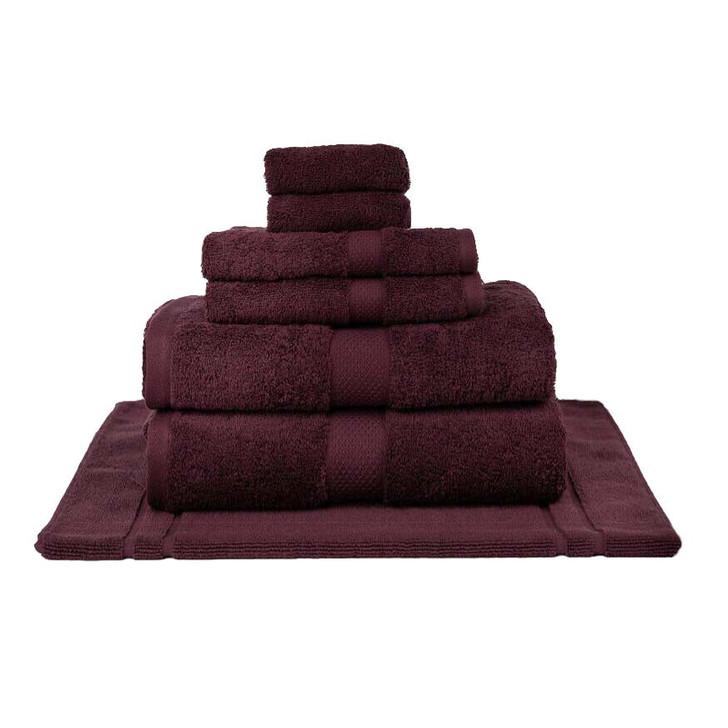 Mildtouch 100% Combed Cotton 7pc Bath Sheet Set Burgundy   My Linen