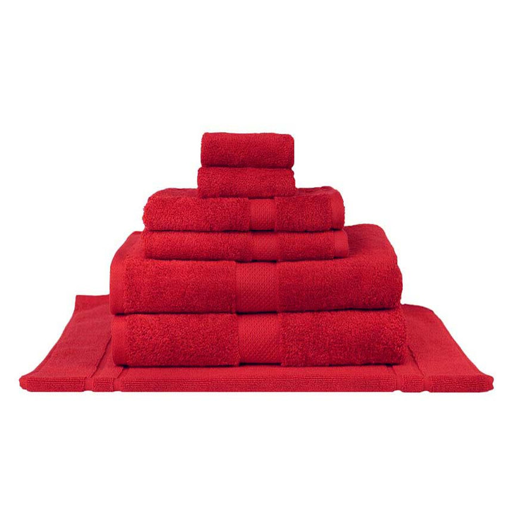 Mildtouch 100% Combed Cotton 7pc Bath Towel Set Red | My Linen