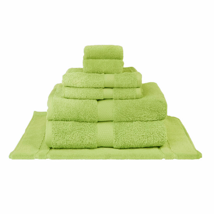Mildtouch 100% Combed Cotton 7pc Bath Sheet Set Lime | My Linen